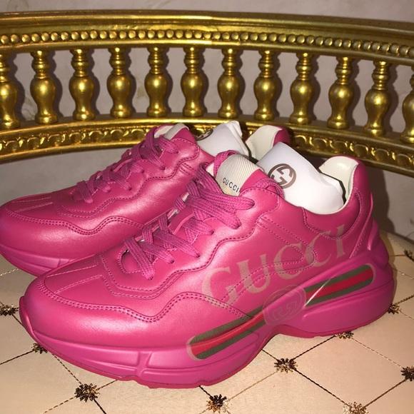 de49d13a4f6 GUCCI Rhyton logo leather sneaker pink size 36 1 2